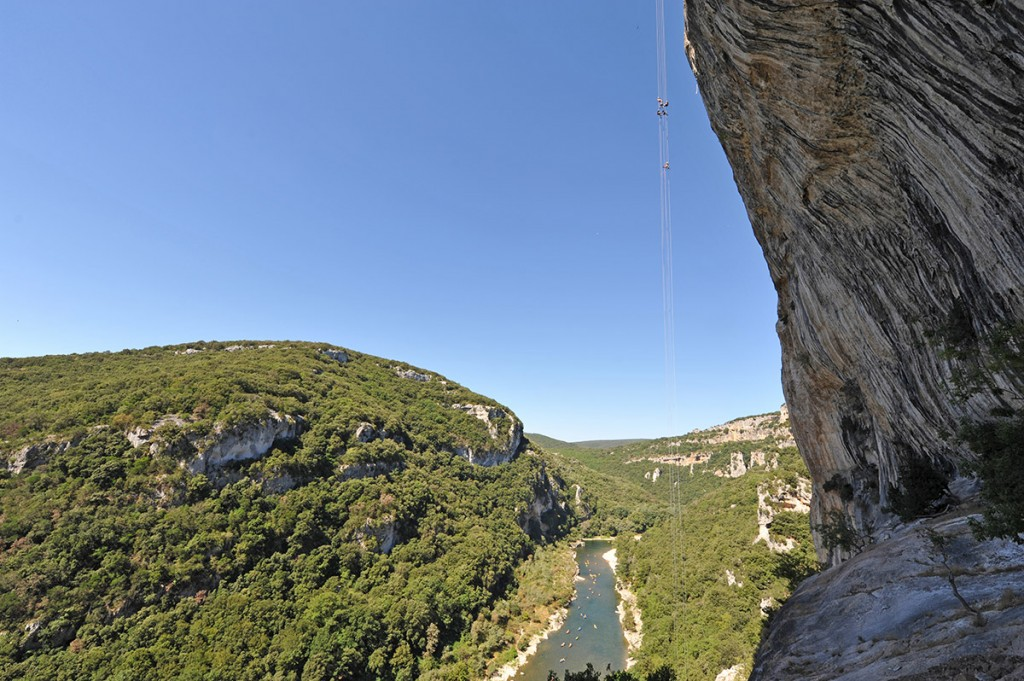 Climbing in the Ardèche, abseiling in the Ardèche Gorges
