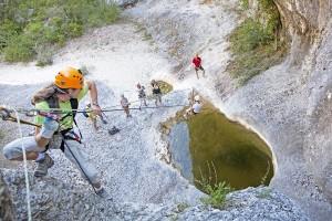 Seilrutschbahnen in Rochecolombe